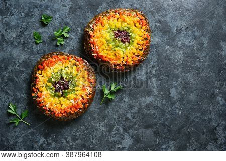 Rainbow Veggie Bell Peppers Pizza Crust On Blue Stone Background With Free Text Space. Vegetarian Ve