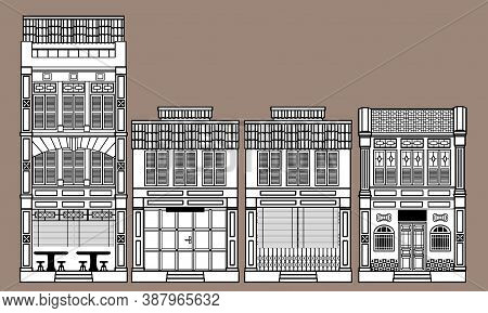 Line Art Of A Group Of Historical Colonial Style Shophouses. With Solid Colour Background.