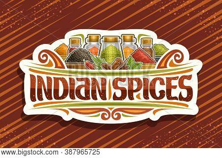 Vector Logo For Indian Spices, White Sign Board With Illustration Of Set Indian Fresh Seasonings In