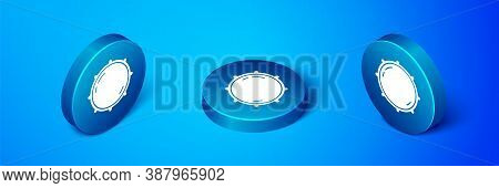 Isometric Dial Knob Level Technology Settings Icon Isolated On Blue Background. Volume Button, Sound