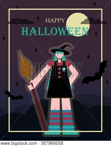 Cartoon Witch With Huge Legs And Arms. Cute Vector Drawing For All Saints Day. Flat Design Greeting