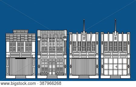 Line Art Of A Group Of Historical Colonial Style Shop Houses. With Solid Color Background.