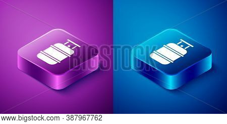 Isometric Propane Gas Tank Icon Isolated On Blue And Purple Background. Flammable Gas Tank Icon. Squ