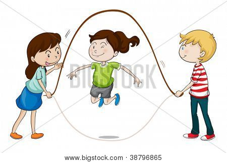 illustration of a kids playing on a white background