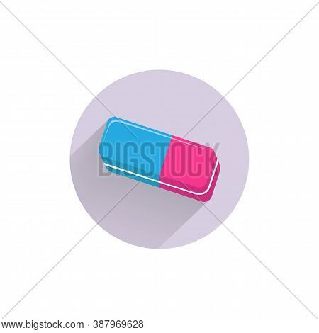 Eraser Colorful Flat Icon With Long Shadow. Eraser Flat Icon