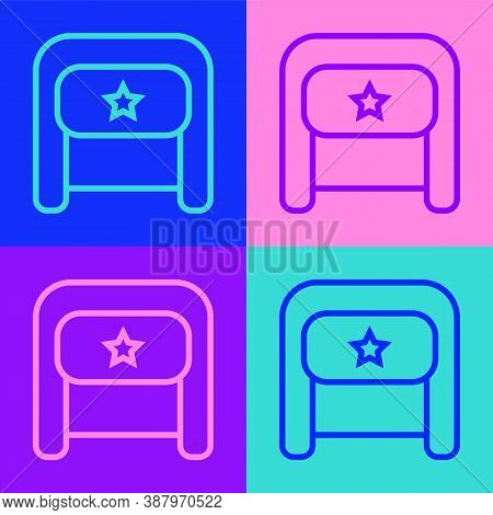 Pop Art Line Ushanka Icon Isolated On Color Background. Russian Fur Winter Hat Ushanka With Star. So