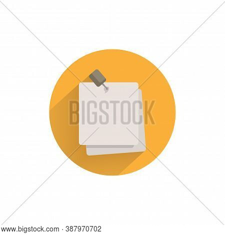 Note Paper With Pushbutton Colorful Flat Icon With Long Shadow. Note Paper Flat Icon