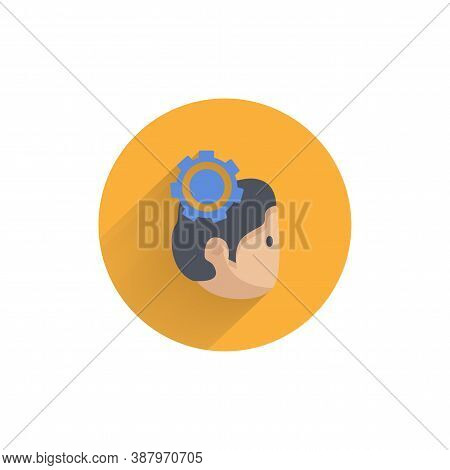 Human Practice Flat Icon. Avatar With Gear Colorful Flat Icon With Long Shadow. Practice Flat Icon