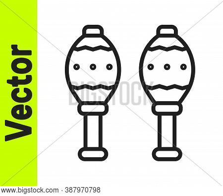 Black Line Maracas Icon Isolated On White Background. Music Maracas Instrument Mexico. Vector