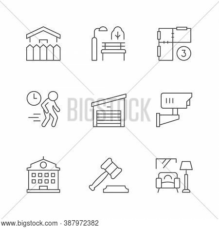 Set Line Icons Of Real Estate Isolated On White. House Fence, Park, Architecture Blueprint, Garage,
