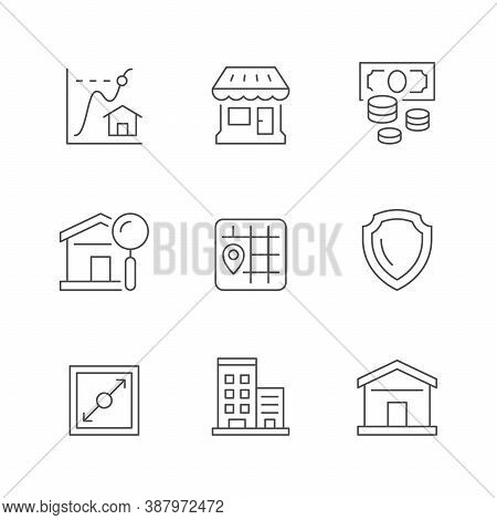 Set Line Icons Of Real Estate Isolated On White. Price Graph, Shop, Money, House Search, Map, Legal