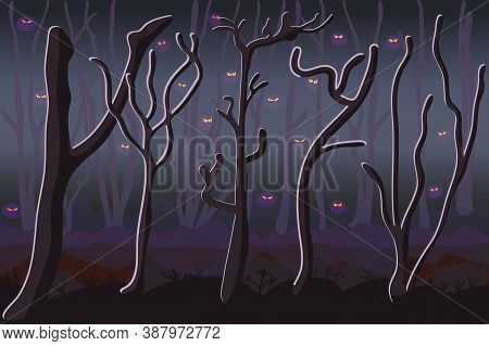 Monsters In Dark Forest. Scary Haunted Woodland. Ghostly Foggy Forest. Eyes In Spooky Dark Forest. C