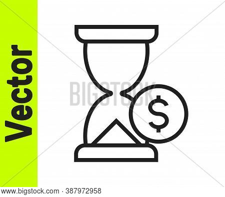 Black Line Hourglass With Dollar Icon Isolated On White Background. Money Time. Sandglass And Money.