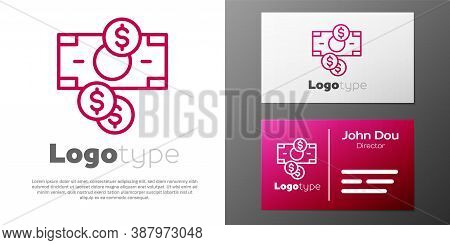 Logotype Line Stacks Paper Money Cash And Coin Money With Dollar Symbol Icon Isolated On White Backg
