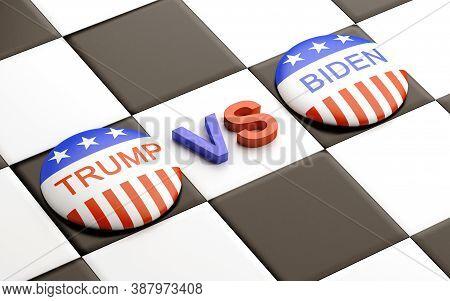 Bengkulu, Indonesia - October 05, 2020: Usa Presidential Election Concept Trump Vs Biden Badge On Di