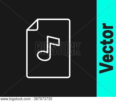 White Line Music Book With Note Icon Isolated On Black Background. Music Sheet With Note Stave. Note