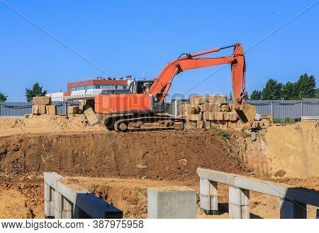 Orange Excavator For Earthworks Construction Outside Photo