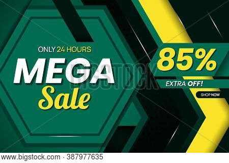 Vector Graphic Of Modern Mega Sale 85 Percent Banner Template. Perfect For Retail, Brochure, Banner,