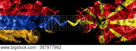 Armenia Vs Macedonia, Macedonian Smoky Mystic Flags Placed Side By Side. Thick Colored Silky Abstrac