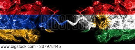 Armenia Vs Kurdistan, Kurdish Smoky Mystic Flags Placed Side By Side. Thick Colored Silky Abstract S