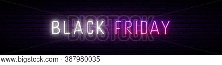 Long Neon Signboard With Glowing Black Friday Inscription. Stock Vector Illustration For Promo Desig