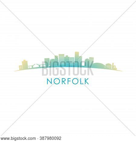 Norfolk, Virginia Skyline Silhouette. Vector Design Colorful Illustration.