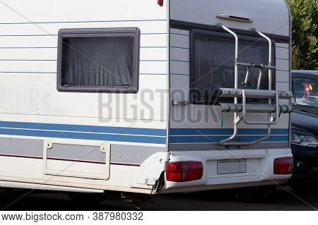 Caravan Trailer, Mobile Home For Family Travel, Close-up. Camping Concept, Hyper-local Travel, Famil