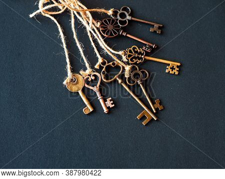 A Bunch Of Different Old Keys From Different Locks. Finding The Right Key, Encryption, Concept. Retr