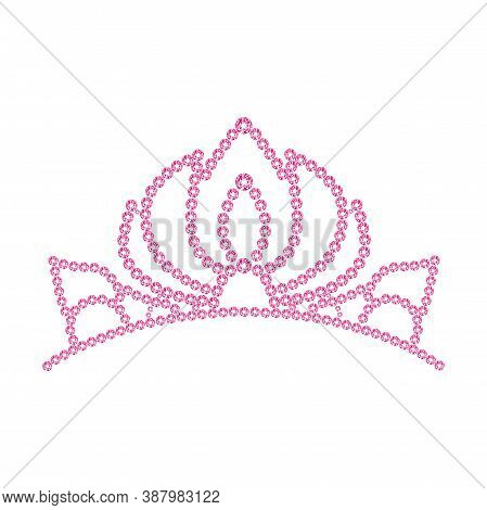 Pink Princess Crystal Crown. Gold Vector Diadem. Silver Rhinestones Womens Tiara. . Vector Illustrat
