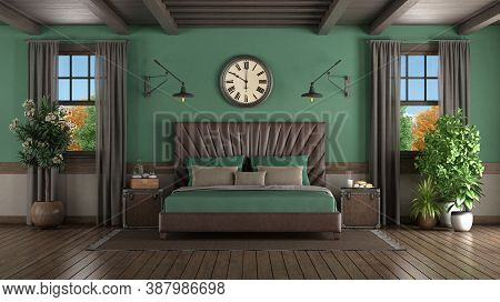 Leather Double Bed In A Green Room With Two Wooden Windows - 3d Rendering
