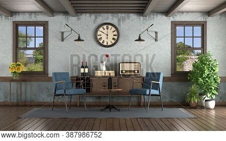 Retro Style Living Room With Armchairs ,sideboard And Wooden Windows - 3d Rendering