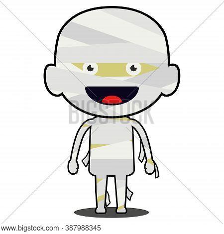 Mummy Costume Illustration Vector. Cute Mummy Smile. Halloween Celebration