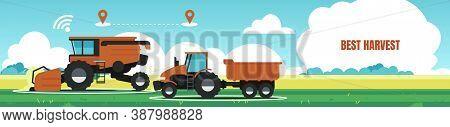 Best Harvest Banner. Combine Tractor Working In Field. Agricultural Machines Online Determine Locati