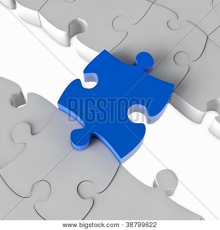 Blue jigsaw puzzle bridge over a gap in 3D