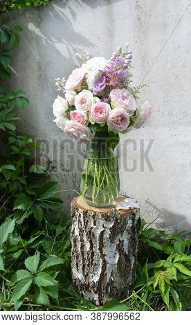 A Romantic Photo With A Bouquet Of Delicate Pink English Roses Standing In A Vase On A Birch Tree St