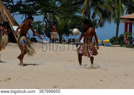 Santa Cruz Cabralia, Bahia / Brazil - April 20, 2008: Pataxo Indians Participate In A Soccer Match D