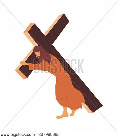 Bible Scene. Jesus Carries The Cross To The Crucifixion. Flat Vector Illustration