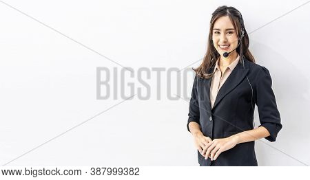 Confident Customer Service Representative. Portrait Of Happy Smiling Cheerful Asian Young Female Cus
