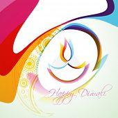 stylish colorful diwali diya vector background poster