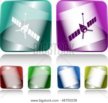 Spaceship. Internet buttons. Raster illustration.