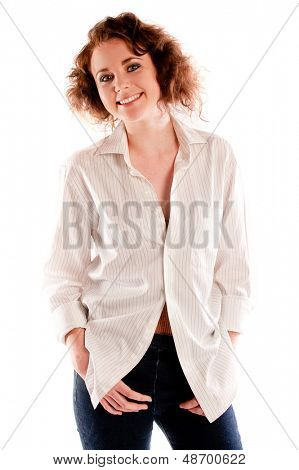 Portrait of a beautiful young woman isolated on a white background