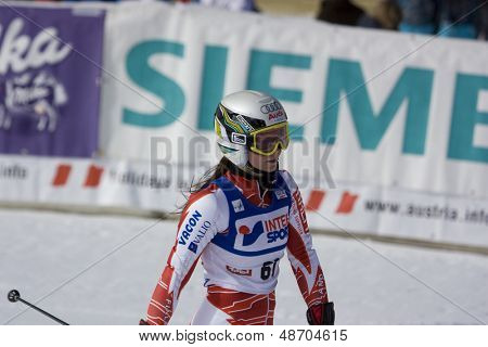 SOELDEN, AUSTRIA -OCT 25: Sanni Leinonen FIN competing in the womens giant slalom race at the Rettenbach Glacier Soelden Austria, the opening race of the 2008/09 Audi FIS Alpine Ski World Cup in Soelden, Austria on Oct. 25, 2008.  poster