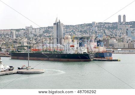 Haifa, Israel - May 19 - View of the port city of Haifa, 2013