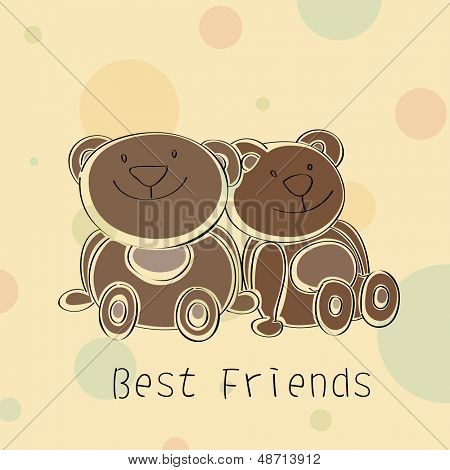 Happy Friendship Day background with teddy bears. poster