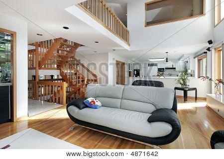 Family Room In Open Floor Plan