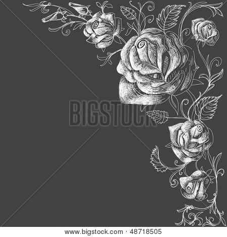 Roses decoration over dark background vector