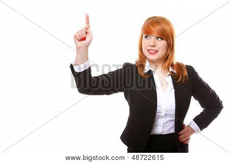Businesswoman Pressing Button Or Pointing