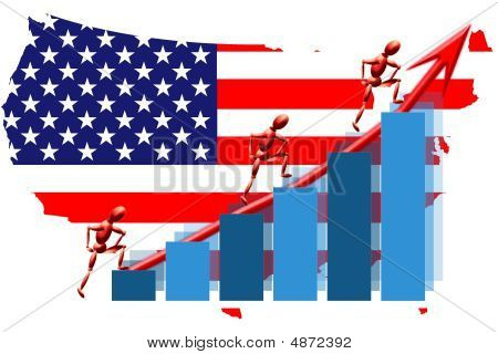 Usa Teamwork Flag Map And Graph Chart