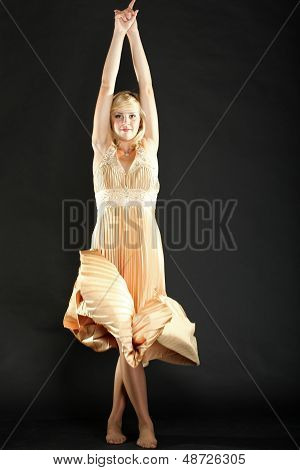 Woman Blonde Fashion Model In Yellow Dress