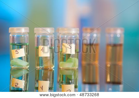 Samples In Plastic Vials For Microscopy And Biopsy Tissue . Biological Laboratory